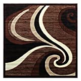 Modern Square Area Rug Design 144 Americana Brown (5 Feet 3 Inch X 5 Feet 3 Inch) Square For Sale