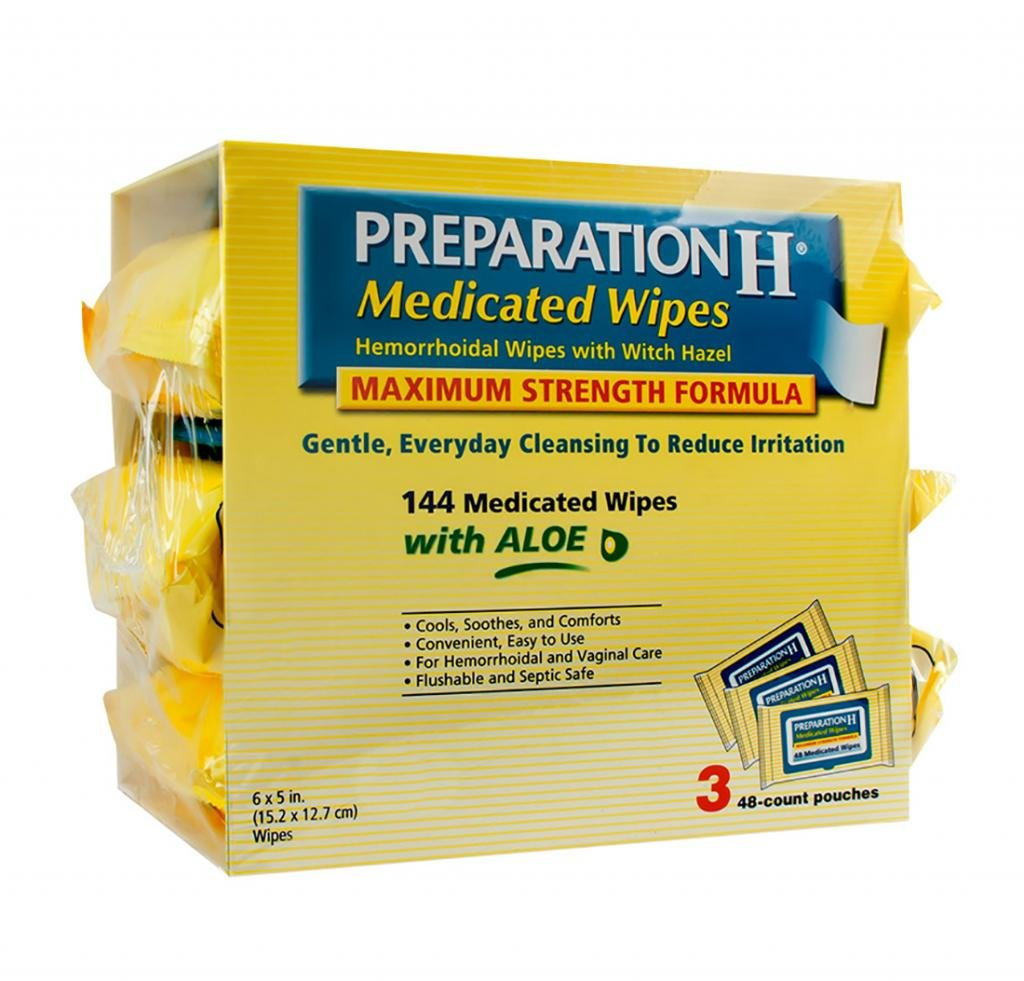 6 Wholesale Lots Preparation H Medicated Wipes Hemorrhoidal Wipes with Witch Hazel, 864 Wipes Total by SSW Wholesalers
