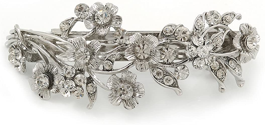 A Beautiful Silver Flower Ring Diamanté Metal Barrette Hair Clip