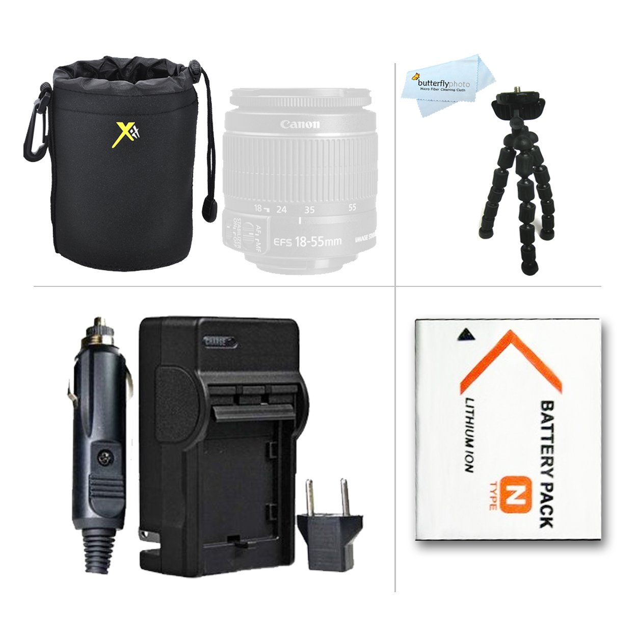 Must Have Accessories Kit For Sony Cyber-shot DSC-QX10, DSC-QX100, QX100/B DSC-QX10/W DSC-QX10/B QX30 Smartphone Attachable Lens-style Camera Includes Extended Replacement (1100Mah) NP-BN1 Battery + Charger + Neoprene Soft Lens Case + 12 Flexible Tripod +