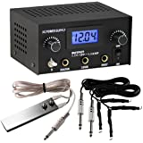 Pirate Face Tattoo Dual Digital Tattoo Power Supply with Foot Pedal and 2 Clip Cords, Black Color