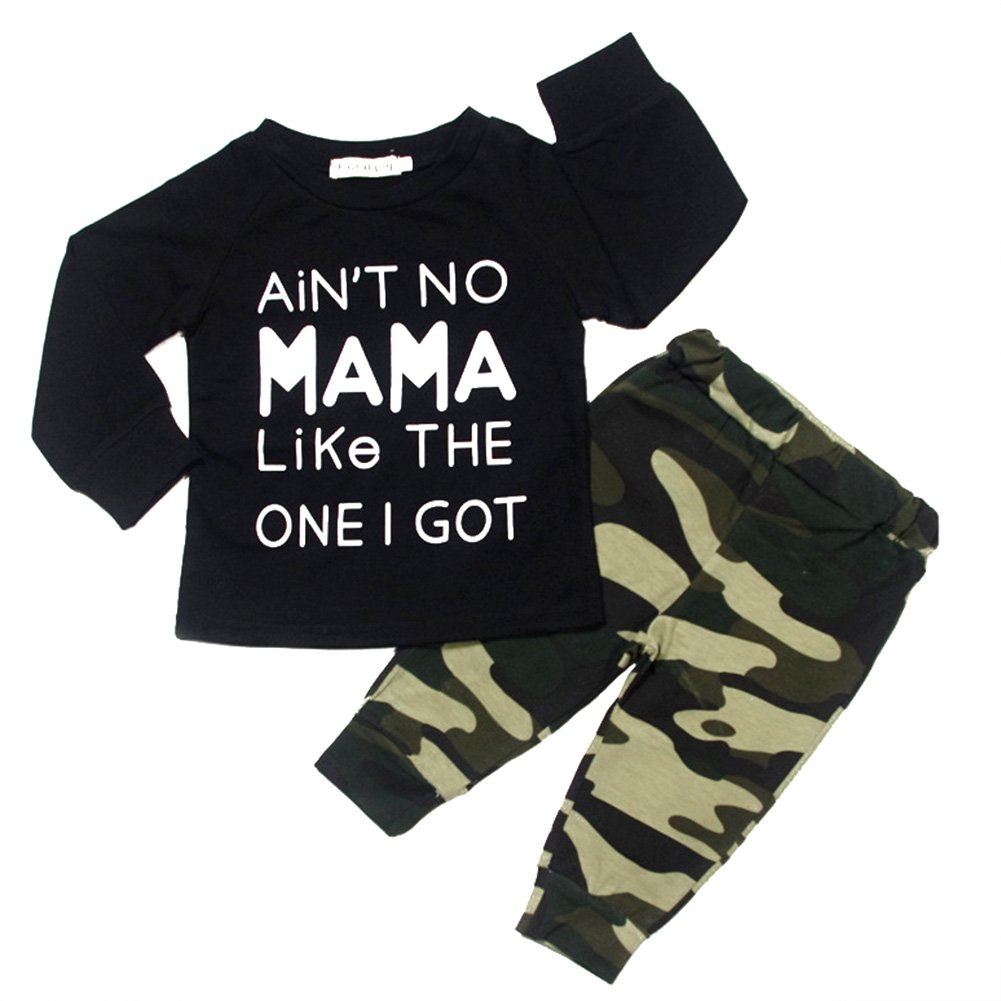BOBORA Baby Girls Boys Letter T-shirt Tops + Camouflage Pants Tracksuit Outfits Clothes Set BON-N-1906