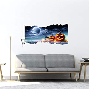 3D Halloween Floor Wall Ceiling Stickers, Cemetery Ghost Pumpkins Spooky Skeleton Wall Decals, Removable Halloween Art Murals for Living Room Window Clings Bar Pub Halloween Party Decoration,Wallpaper
