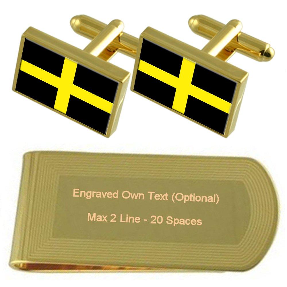 St David/'s Cross Flag Gold-tone Cufflinks Money Clip Engraved Gift Set