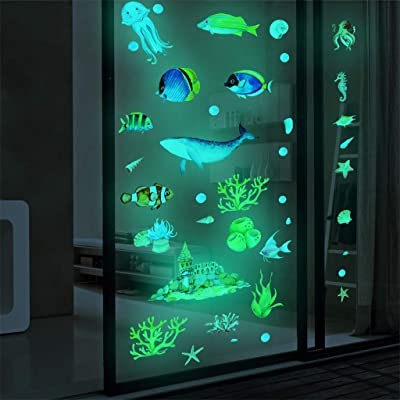 cnnIUHA Ocean Theme Glow in The Dark Wall Stickers, Luminous Sea Wall Decals Mural, for Kids Room Kindergarten Nursery Pre School Décor, Vinyl PVC DIY Wall Art: Baby