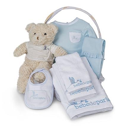 Canastilla regalo bebé SPA Bebe Esencial de Bebé de París. Cesta regalo recién nacido