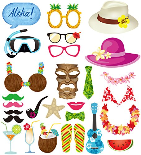 LUOEM Luau Hawaii Themed Photo Booth Prop - Photo Props Selfie DIY Props for Beach Pool Parties Tropical Birthdays Wedding and Festivals Party Supplies (28 Pcs) ()