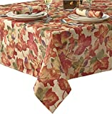 Harvest Leaf Festival Autumn and Thanksgiving Fabric Print Tablecloth, 60 Inch x 120 Inch Oblong