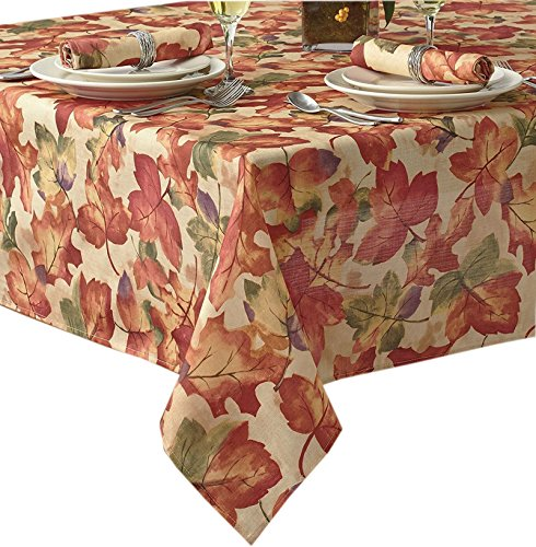 Harvest Leaf Festival Autumn and Thanksgiving Fabric Print Tablecloth, 70 Inch Round