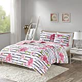 Comfort Spaces - Zoe Mini Quilt Set - 2 Piece - Pink - Adorable Ultra Soft Microfiber Printed In Cheerful Vibrant Multi-Color Floral Design - Twin/Twin XL Size, Includes 1 Coverlet and 1 Sham