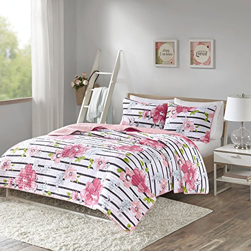 Comfort Spaces - Zoe Mini Quilt Set - 3 Piece - Pink - Adorable Ultra Soft Microfiber Printed In Cheerful Vibrant Multi-Color Floral Design - Queen Size, Includes 1 Coverlet and 2 Shams (Zoe Comforter Set)
