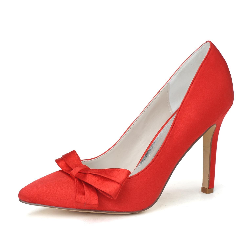 Elegant high shoes Talons Hauts de Femmes/Chaussures de Mariage Confortable Pompe de Base Et SoiréE de Printemps Et D'éTé Satin Wedding Party, Red, 42