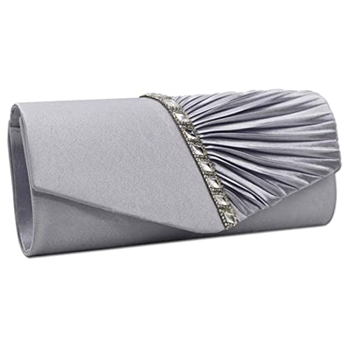 484dc835dff4 EROUGE Womens Pleated Crystal-Studded Satin Handbag Evening Clutch ...