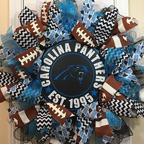 Carolina Panthers Wreath for Front Door with Deco Mesh and Ribbon, 26 Inches]()