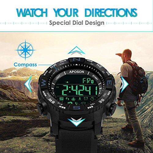Aposon Mens Watch Smart Sport Wristwatch Bluetooth Watch Pedometer Calories LED Digital Watch Fitness Running Bracelet Chronograph Alarm Wristwatches Military Army Watch On Sale 50M Waterproof
