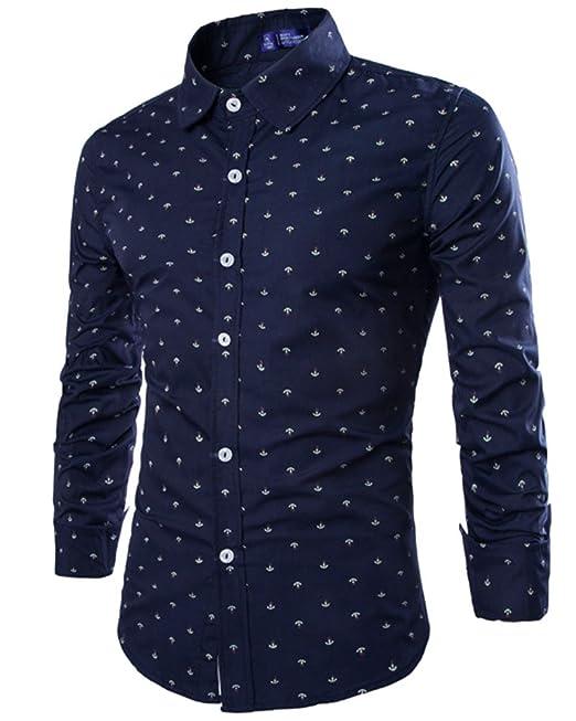 Camisa Básico Hombre Camisas de Manga Larga Slim Fit Shirts: Amazon.es: Ropa y accesorios