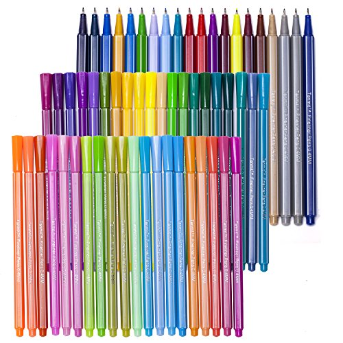 Tanmit 60 Fineliner Coloring Pens Set, 0.4mm Ultra Fine Tip Unique Colored Pen - Porous Fine Point Markers Perfect for Adult Coloring Books & Drawing