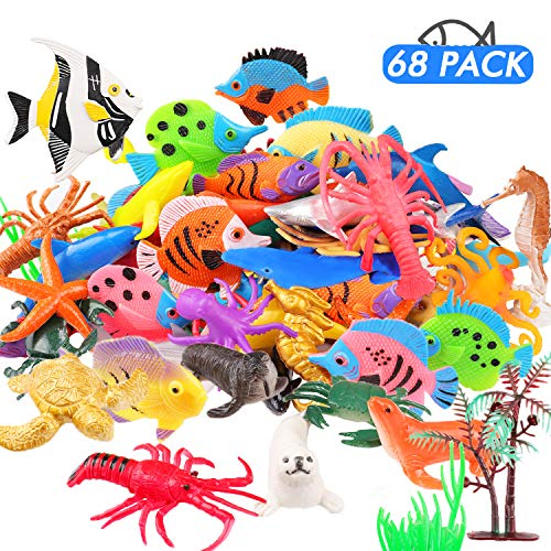 JVIGUE Ocean Sea Animals Figures, 68 Pack Mini Plastic Sea Creature Toy Set, Fish Bath Pool Toys, Deep Underwater Life Creatures Gift for Kids Cupcake Topper Party Favors