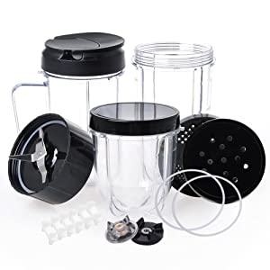 QueenTrade Magic Bullet Replacement Cups, Replacement Cups & Cross Blade & Lids & Gear & Gaskets & Shock Pads 18pcs/Set Replacement Parts For 250W Magic Bullet Blender Juicer/Mixer MB1001 Accessories