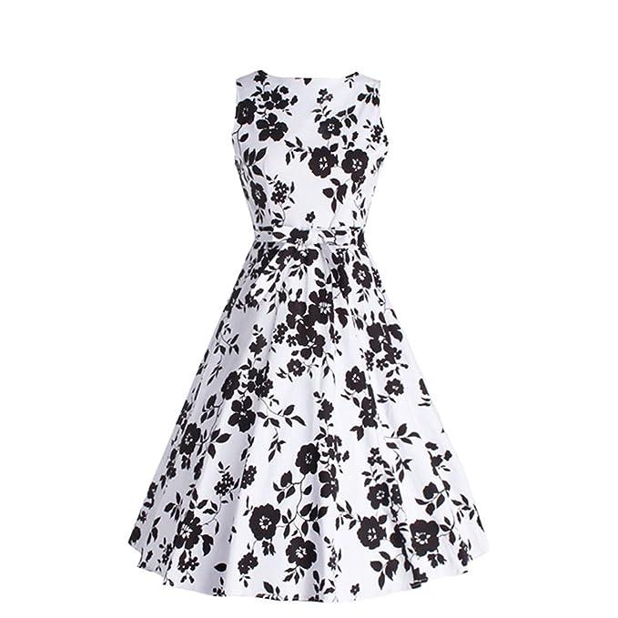 ZNYSTAR Retro Estampado Floral Vestidos Vintage Mujer Vestido sin mangas (XXL, blanco y negro