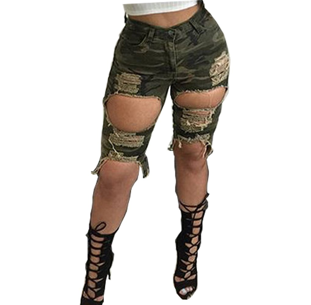 Camouflage L Womens Sexy Colorful Hole Destroyed Ripped Sexy Shorts Denim Pull-on Hot Pants Mid Rise Jeans Low Waist