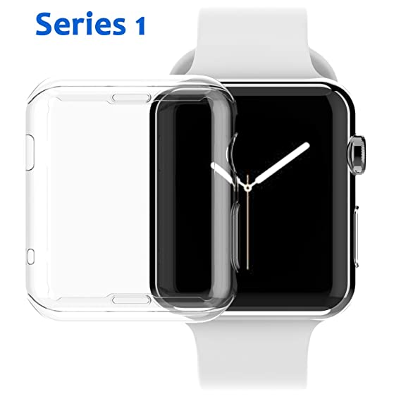 new style 086b1 71e4c Apple Watch Series 1 38mm Case, NSR Apple Watch TPU Screen Protector  All-around Protective 0.3mm HD Clear Ultra-thin Cover Case for iWatch 38mm