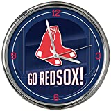 The Memory Company MLB Boston Red Sox Go Team! Chrome Clock, One Size, Multicolor