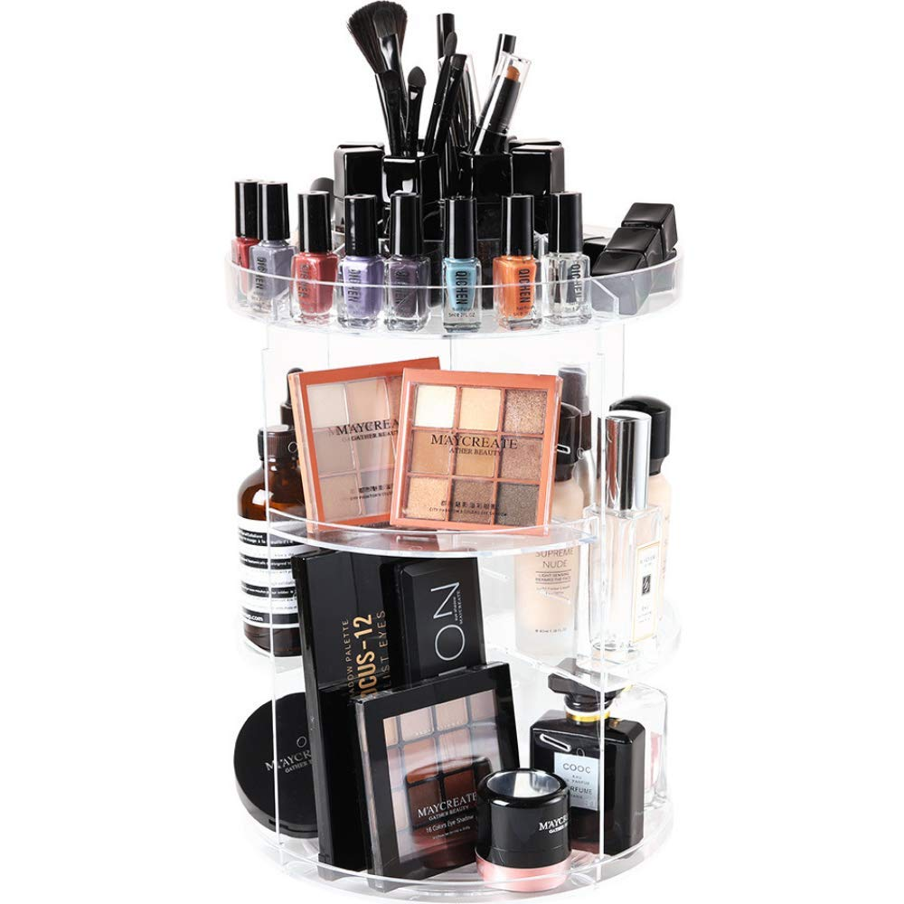 SUNFICON Rotating Makeup Organizer Cosmetic Holder 360 Degree Spining Makeup Storage Box Display Stand Adjustable Tray for Vanity Bathroom Bedroom Closet Large Acrylic Clear