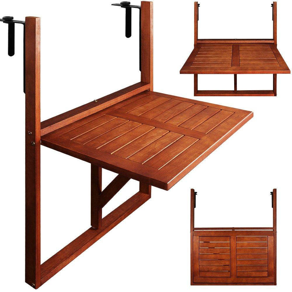 Deuba Tavolino pieghevole da balcone legno di acacia tavolo da appendere a sospensione giardino esterno 64x45x87cm