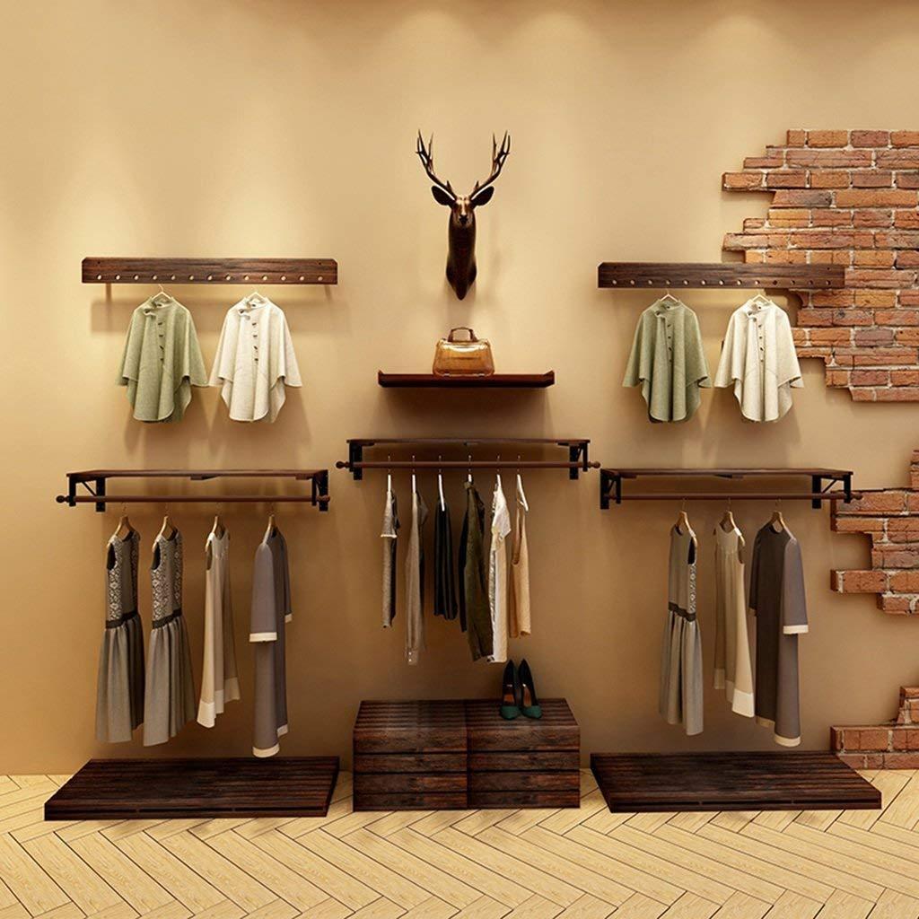 60cm JZX Wooden Household Hangers, Wall Hangers,Pine Wood Wall Hanging Retro Clothing Store Display Stand Bag Shelf Wall Shelves Rack (60  30  6Cm, 80  30  6Cm, 100  30  6Cm),Wall Door Back Coat Rac