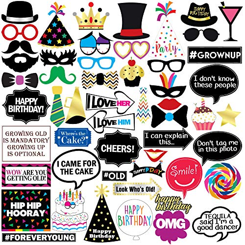 Sterling James Co. Funny Birthday Photo Booth Props - 47 Pieces - 21st - 30th - 40th - 50th - 60th - 70th - 80th - 90th
