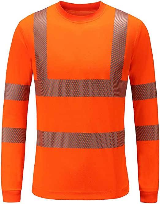 Safety High Visibility Long Sleeve Construction Work Shirts Pack for Men