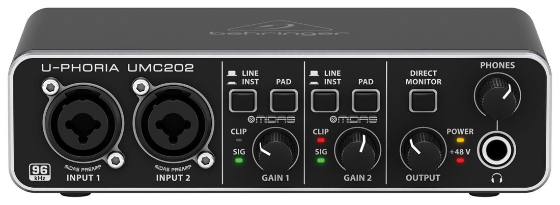Behringer UMC202 Audiophile 2X2 24-Bit/192 KHz USB Audio Interface with  Midas Mic Preamplifiers