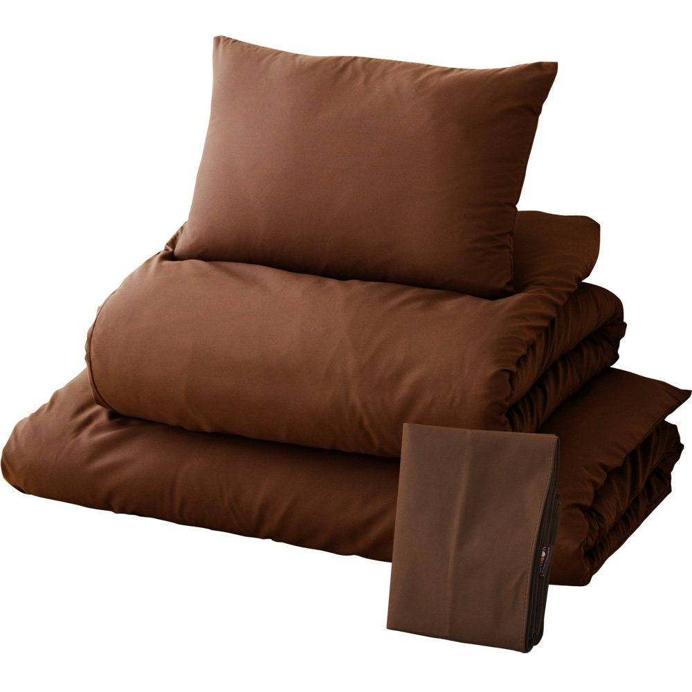 EMOOR, 6-Piece Japanese Futon Set with Covers and Storage case, Twin Size, Brown