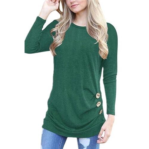 Newbestyle - Camisas - Cuello redondo - Manga Larga - para mujer