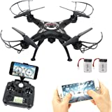 RC Drone con wifi HD FPV Camera Remote Control Airplane + Supporto batteria extra Headless One Key Home 3D Flip Quadter elicottero Hover Drone Remote Controller con schermo LCD Display Lamaston X5SW-1