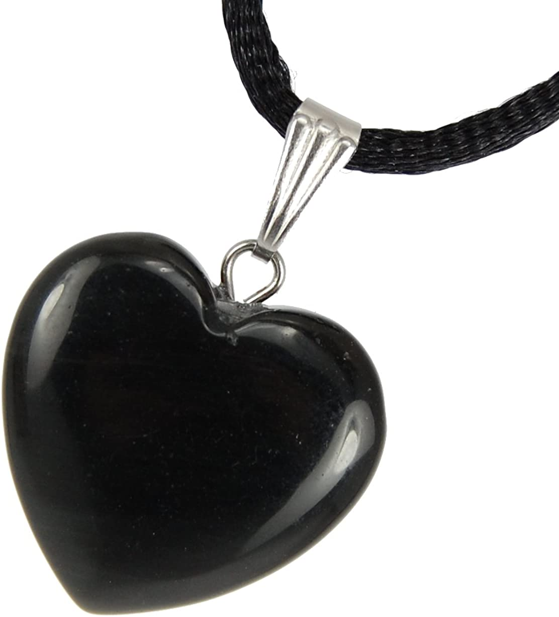 Crystal Gemstone Carved Necklace Charm Handmade 20mm Classic Obsidian Black 20-22 inch Black Cord Steampunkers USA Big Heart Collection