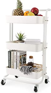 3-Tier Rolling Utility Cart Storage Shelves Multifunction Storage Trolley Service Cart with MeshBATHWA Basket Handles and Wheels Easy Assembly for Bathroom, Kitchen, Office (White)