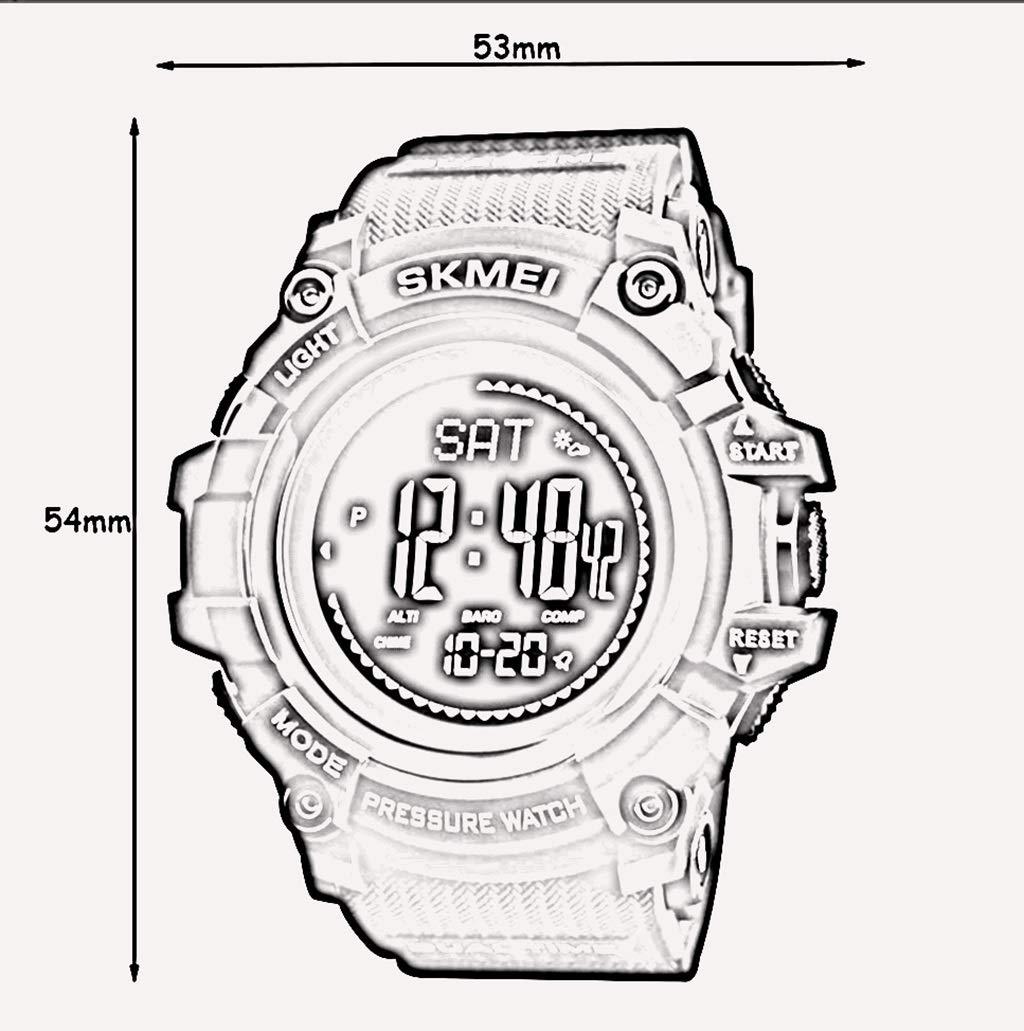 ZGP Sportklocka multifunktion nedräkningskalender kompass lufttryck väderprognos herr elektronisk klocka (färg: C) D