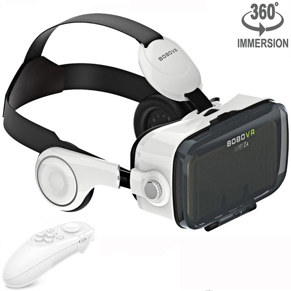 VR Headset Virtual Reality Goggles with Build-in Stereo Headphones and Remote Controller Movie Games VR 3D Glasses fits the Myopia for iOS & Android & Windows Phones within 3.5-6.2 inches White by BOBOVR