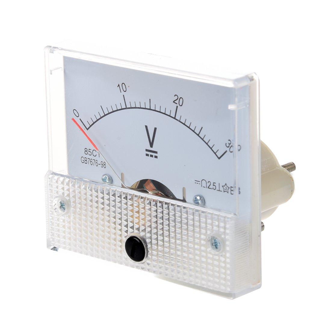 R SODIAL Analogue 30V DC Voltage Needle Panel Meter Voltmeter