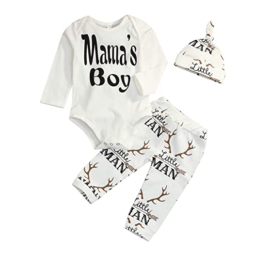 e4850c2317f Younger Tree Newborn Infant Baby Boys Clothes Set Mama s Boy Print Romper+ Little  Man Pant 3Pcs Outfits