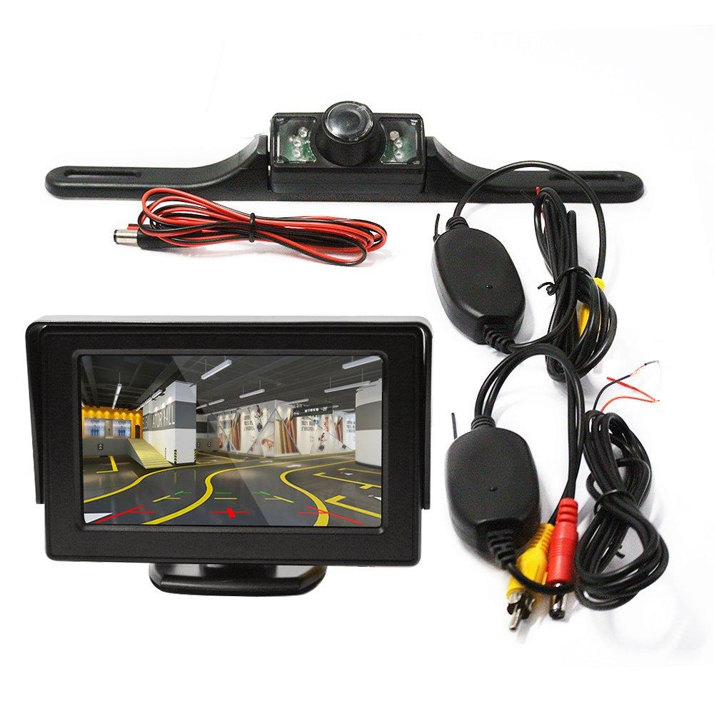 "Car Rear View Camera Lexxson 4.3/"" TFT display with 2.4G Wireless Car License Mount Rear View Backup Camera LED Night Vision LHTH002"