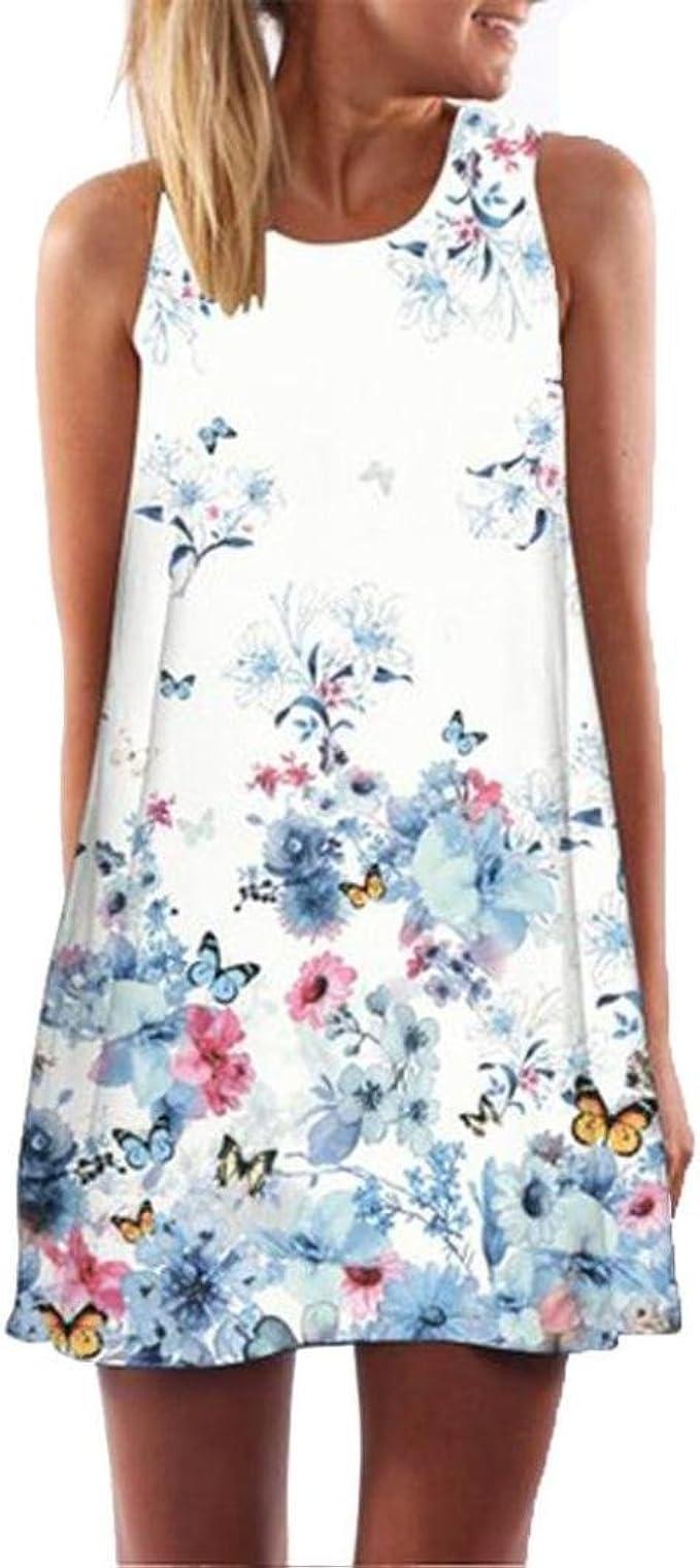 Binggong Kleid Damen, Vintage Boho Frauen Sommer Sleeveless Strand Printed  Short Mini Dress Mode Kleid Freizeit Reizvolle MiniKleid Elegant (Weiß H,