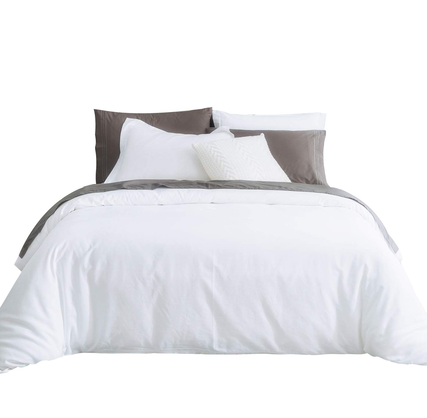 SUSYBAO 3 Pieces Duvet Cover Set 100% Natural Cotton King Size 1 Duvet Cover 2 Pillow Shams Solid White Luxury Quality Super Soft Breathable Hypoallergenic Lightweight Durable Bedding with Zipper Ties