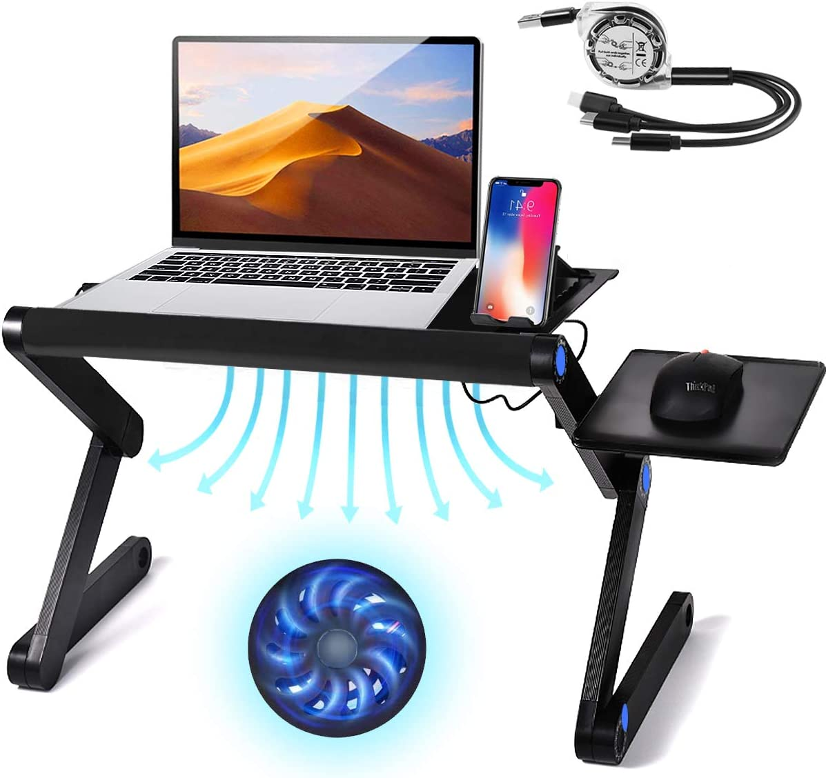 Upgraded Sturdy Large Laptop Stand, Adjustable Laptop Stand for Desk, Aluminum Laptop Table Laptop Desk Stand, Protable Laptop Holder with Cooling Fan and Mouse Pad Compatible Up to 17.3'' Laptop