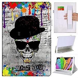 Cowcool(R) Lenovo YOGA Table2 Pro 1380F Folio Non Slip Elastic Hand Strap Dermis Cowhide Leather Card Slot Kickstand Closure Holster Case, Hat Skull Sunglasses I Want You (MD2)