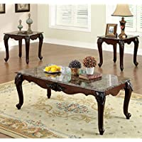 247SHOPATHOME Idf-4423-3PK Living-Room-Table-Sets, Cherry