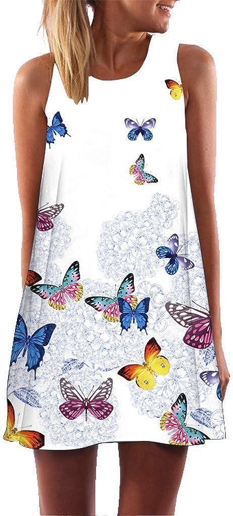 MOMOXI Vestido para Las Mujeres, Vestido Atractivo de la Moda del Verano de Las Mujeres Suelto de la impresión de Verano 2019 Madre S-5XL