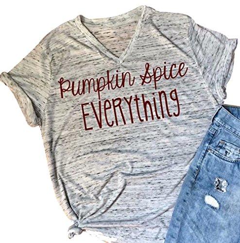 Pumpkin Spice Everything Funny T-Shirt Women Casual Halloween Pumpkin Blouse Tee Top Size M (White)